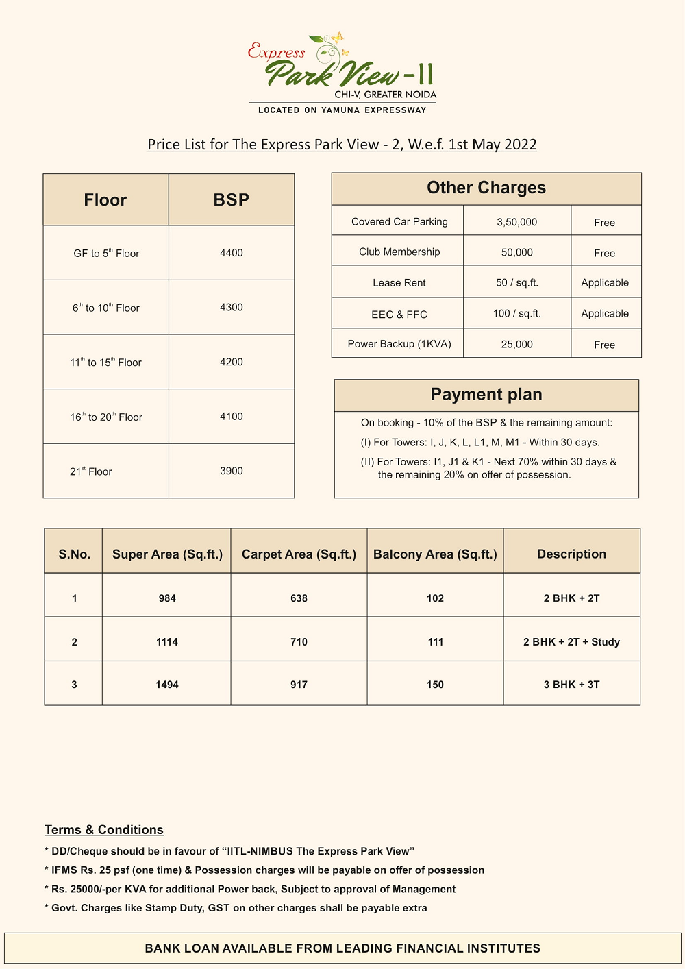 Park View 2 Greater Noida Price List